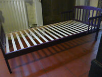 Toddler Bed, wooden, purple, in good condition with mattress if required