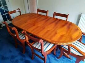 solid Yew wood dining table and six chairs