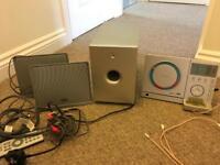 Teac slimline hifi CD player digital radio with 2 speakers and sub woofer
