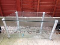 Glass/silver TV stand