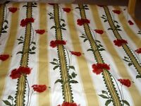 Upholstery fabric approx 15 m x 137cm wide, Gold and red stripes, still on roll