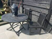 Teak table solid 2 chairs