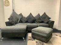 SOLD- Grey & black corner sofa & foot stool delivery 🚚 sofa suite couch furniture