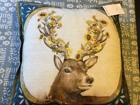 Embroidered Stags Head Cushion - M&S - New with Tag