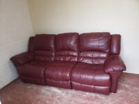 3 seater leather recliner sofa (delivered free)