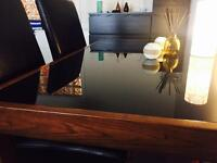*REDUCED* Solid oak/black glass dining table, can deliver locally