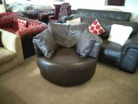 Brown Leather swivel spin chair armchair VGC Delivery Poss