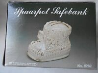 Silver plated baby bootie christening gift