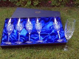 6 new Bohemia crystal champagne glasses in presentation box
