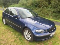 BMW 316I COMPACT 53 REG IN MIAMI BLUE WITH FULL SERVICE HISTORY AND MOT JAN 2017