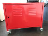 Ikea red metal cabinet