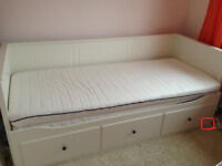 White Ikea hemnes day bed with 2 mattresses / single converts to kingsize bed