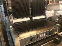 CATERING COMMERCIAL NEW DOUBLE PANNINI CONTACT GRILL FAST FOOD RESTAURANT TAKE AWAY CAFE KEBAB SHOP
