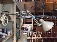 Vintage Danish Grey HCF 20th Century Modernist Clamp Anglepoise Desk Lamp