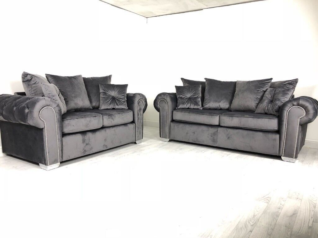 Chesterfield Glam 3+2 Sofas Grey Velvet   in Great Ayton, North ...