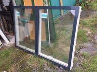 2 Velfac DG casement windows. Timber framed (white), alu-clad (charcoal), 2017. 178cm w x 121cm h.
