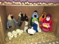 Knitted Nativity Set And stable