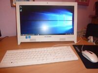 """Lenovo C260 19.5"""" all in one white desktop computer with Win 10 Home OS"""