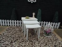 ABSOLUTELY STUNNING SOLID WOOD NEST OF TABLES PAINTED WITH LAURA ASHLEY PALE DOVE AND CREAM COLOUR