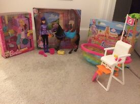 Barbie brand new glam laundry, Skipper and horse and swimming pool