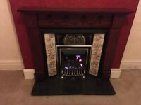 Gas Fireplace—Includes Hearth, Mantlepiece and Surrounding Tiles