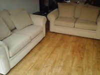 2 seater sofa and 2 seater sofa bed - metal action. Sand colour. Both hardly used and unmarked.