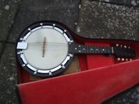 BANJO MANDOLIN - VINTAGE WINDSOR MODEL 5 + CASE- early 20th cent- 8 STRING