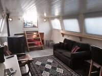 Widebeam Dutch Barge houseboat liveaboard canalboat with London residential mooring