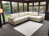 Large Cream Leather Corner Sofa Good Condition
