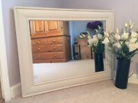 Wide wooden frame mirror painted vintage cream