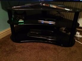 Smoked glass 3 tiered tv cabinet
