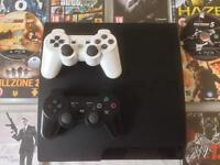 SONY PLAYSTATION SLIM PS3 CONSOLE BUNDLE 10 GAMES 2 PADS GTA 5 COD BLACK OPS 2 W13 007 UFC GT5 HAZE