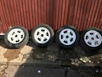 """Set of 4 Replica empi white 5 spoke 15""""wheels & Tyres"""