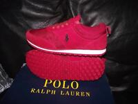 new Genuine ralph lauren leather red trainers size 9 & 11