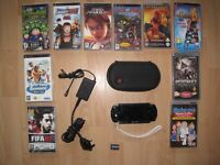 SONY PSP 8 X GAMES. 2 X VIDEOS. WITH CASE AND CHARGER. (BUNDLE).