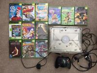 Xbox original crystal console and 12 games