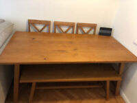 Schreiber Cannonbury wood dining table with bench and 3 chairs