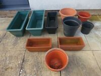 7 x plastic & 3 x terracotta plant pots / window boxes - collection from Cheltenham