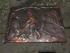1974 Copper Wall Art Handmade In Chilly Rare 70s Vintage Retro Unusual