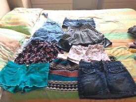 Mix of skirts, shorts and one denim playsuit. Sizes 6 and 8.