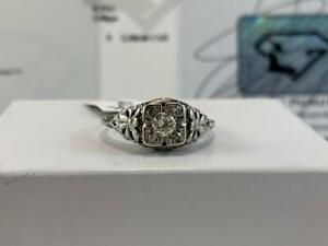 #3902 18K White Gold Vintage Old European Cut Centre Diamond *SIZE 7 3/4* APPRAISED AT $2100.00