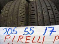 MATCHING PAIR OF 205 55 17 PIRELLIS 7MM TREAD £70 PAIR SUP & FITD (loads more av} TXT S