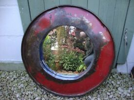 Oil- Drum Mirror,Measuring Approx 23.5 Inches Diameter.