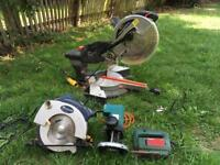 Sliding Compound Mitre Saw, Circular Saw, Router, Jigsaw.