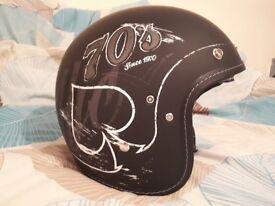 Matt black openface custom cruiser helmet medium