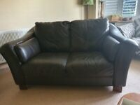 Chocolate brown leather 2 seater sofa