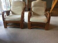 Pair of rattan/cane armchairs