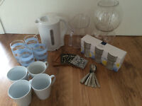 Kitchen set including kettle, jugs, tumblers, glasses, mugs, coasters and teaspoons