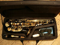 alto saxophone - black/gold stunning looks -as new, plays superbly -excellent starter sax/gift