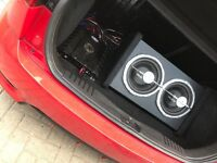 """Auna 2X10"""" Double car Subwoofer with LED Light Effect 1600 watts"""